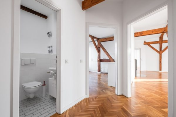 loft-apartment-after-renovation-empty-flat-hallway-picture-id871105016